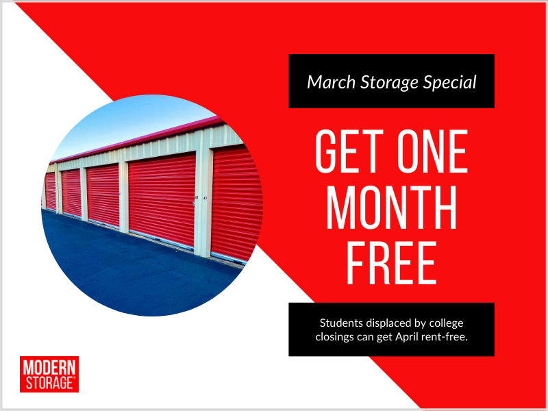 Students can get a storage unit rent-free for April if they move in this March.