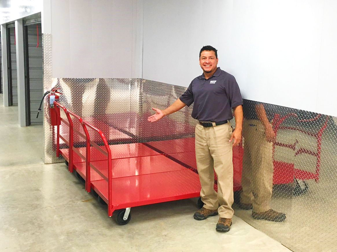 Photo of complimentary moving carts at Modern Storage in Bentonville. We offer ground floor storage units!
