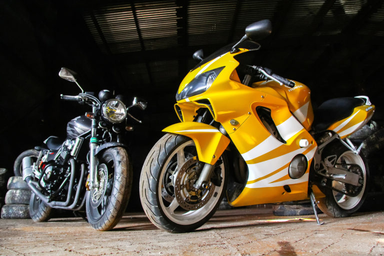 Parked Motorcycles In Self Storage Units