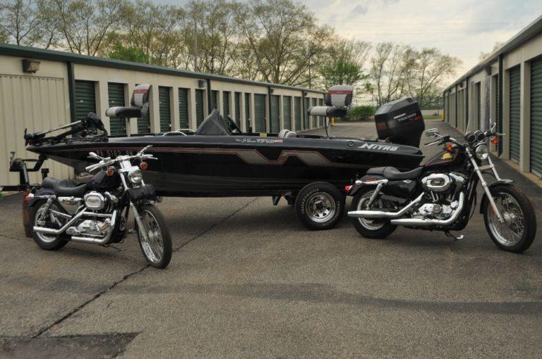 Motorcycles And Boat At Self Storage Facility